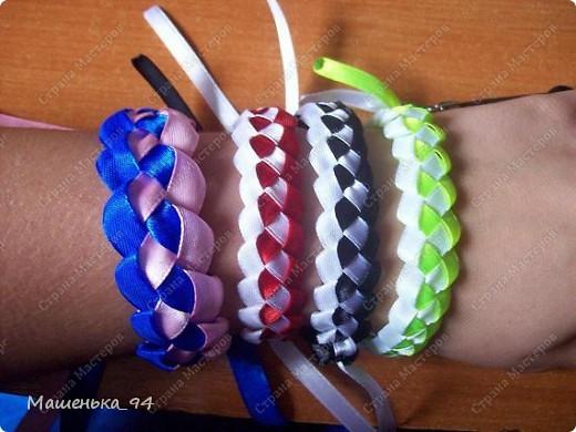 Украшение Плетение: Фенечки и браслеты из атласных лент!  Ленты.
