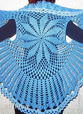 ...Вязание крючком: Кружевная накидка + схема Нитки, Пряжа.  Фото 3.