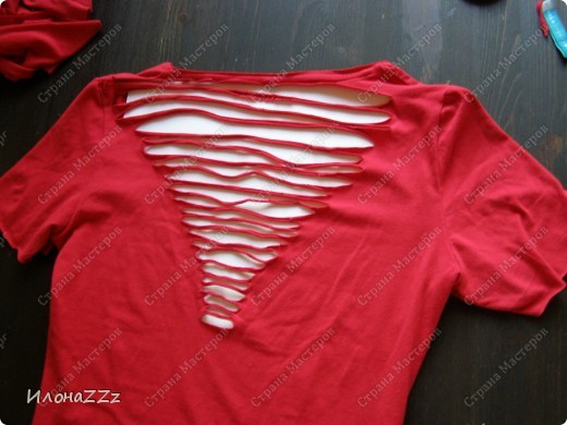 Гардероб, Мастер-класс Моделирование: Легким движением ножниц футболка превращается в ... стильный топ Ткань Отдых. Фото 7
