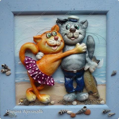 Картина, панно Лепка: Ну как без котиков? Тесто соленое. Фото 1
