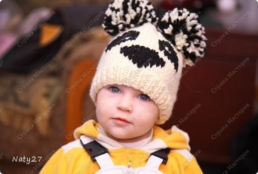 взрослого. схема вязания шапки панды.