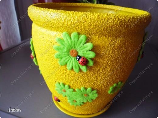 Декор предметов Ассамбляж: Был глиняный, стал солнечный горшочек Продукты пищевые. Фото 1