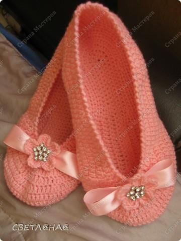 """Гардероб, Презент от Голубки Вязание крючком: Балетки """"Розовые мечты..."""