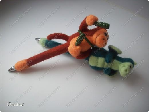 Поделка, изделие Валяние (фильцевание): Ручка - игрушка Шерсть Новый год. Фото 2