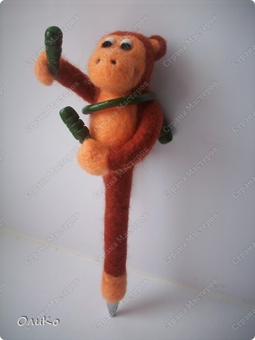 Поделка, изделие Валяние (фильцевание): Ручка - игрушка Шерсть Новый год. Фото 10