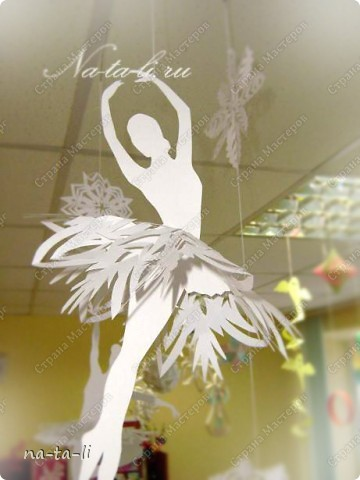 Интерьер, Поделка, изделие Вырезание силуэтное: Снежинки-балеринки Бумага Новый год. Фото 5