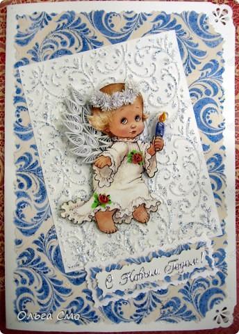 Открытка Квиллинг: Открытки к Новому году и Рождеству Бумага, Бумажные полосы, Картон Новый год, Рождество. Фото 3
