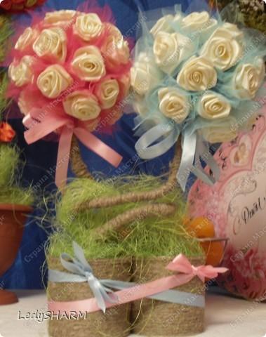 Декор предметов Вышивка: Топиарий из атласных лент Ленты Свадьба.  Фото 1.