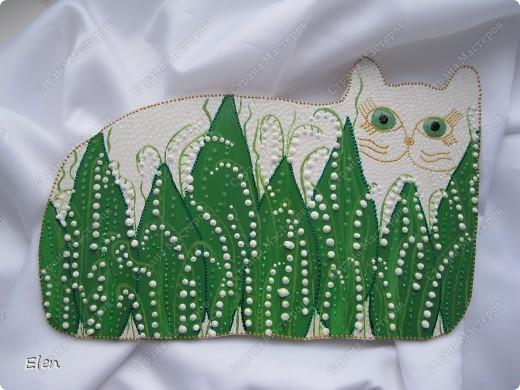 Картина, панно Роспись: кошка  Гипс, Краска. Фото 1
