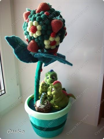 """Интерьер Валяние (фильцевание): Декоративное дерево """"Счастье быть семьей"""" Шерсть День семьи. Фото 1"""