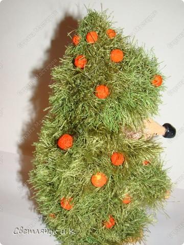Игрушка Вязание крючком, Папье-маше: Жил-был ёжик Бумага, Клей, Краска, Пластика, Пряжа Новый год. Фото 8