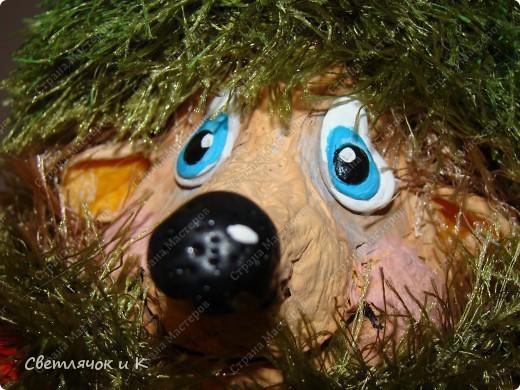 Игрушка Вязание крючком, Папье-маше: Жил-был ёжик Бумага, Клей, Краска, Пластика, Пряжа Новый год. Фото 11