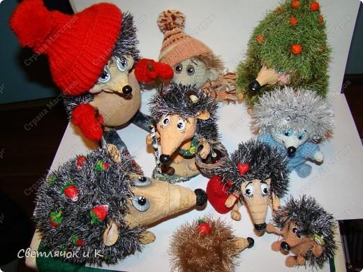Игрушка Вязание крючком, Папье-маше: Жил-был ёжик Бумага, Клей, Краска, Пластика, Пряжа Новый год. Фото 16