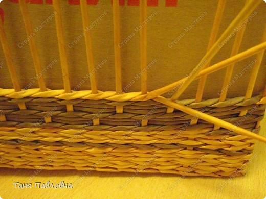 Мастер-класс, Поделка, изделие Плетение: Короб для открытых полок и мааааленький МК Бумага газетная. Фото 15