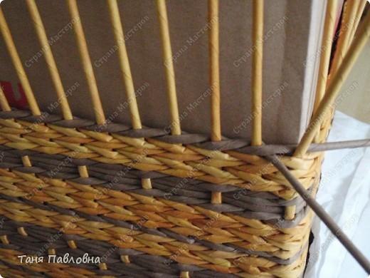 Мастер-класс, Поделка, изделие Плетение: Короб для открытых полок и мааааленький МК Бумага газетная. Фото 12