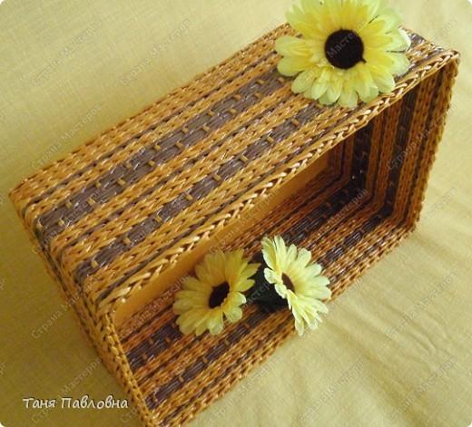 Мастер-класс, Поделка, изделие Плетение: Короб для открытых полок и мааааленький МК Бумага газетная. Фото 2