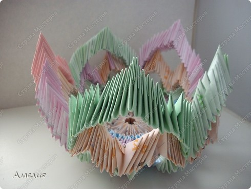 Мастер-класс Оригами, Оригами модульное: Розочки Кавасаки в вазочке+МК Бумага. Фото 13