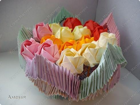 Мастер-класс Оригами, Оригами модульное: Розочки Кавасаки в вазочке+МК Бумага. Фото 58