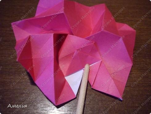 Мастер-класс Оригами, Оригами модульное: Розочки Кавасаки в вазочке+МК Бумага. Фото 44