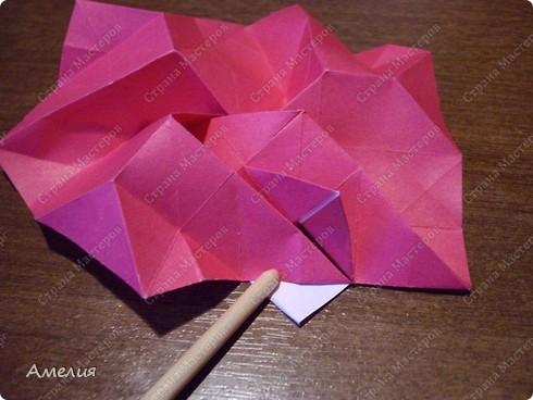 Мастер-класс Оригами, Оригами модульное: Розочки Кавасаки в вазочке+МК Бумага. Фото 45