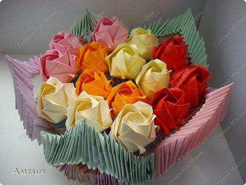 Мастер-класс Оригами, Оригами модульное: Розочки Кавасаки в вазочке+МК Бумага. Фото 1