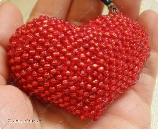 Мастер-класс, Презент от Голубки Вязание крючком: Бисерное сердце. МК Бисер, Пряжа Валентинов день. Фото 1
