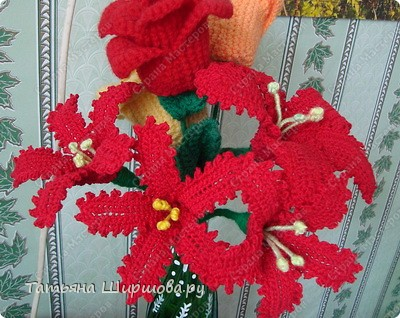 Украшение Вязание крючком: вязаные цветы Нитки Отдых.  Фото 1.
