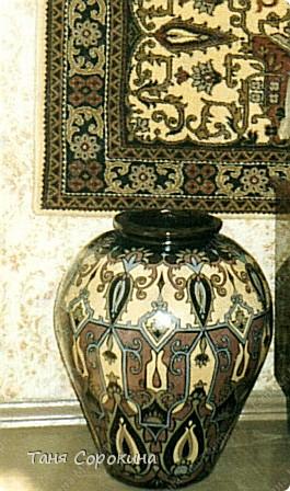 Декор предметов Рисование и живопись, Роспись: Напольный кувшин в восточном стиле. Роспись. Краска