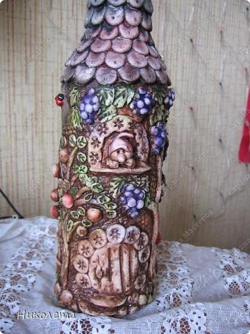 """Декор предметов, Мастер-класс Лепка: Как я делаю """"Домик для гномиков """" Бутылки стеклянные, Тесто соленое День рождения. Фото 2"""
