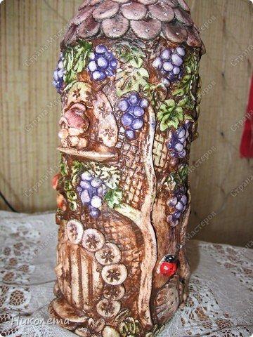 """Декор предметов, Мастер-класс Лепка: Как я делаю """"Домик для гномиков """" Бутылки стеклянные, Тесто соленое День рождения. Фото 25"""