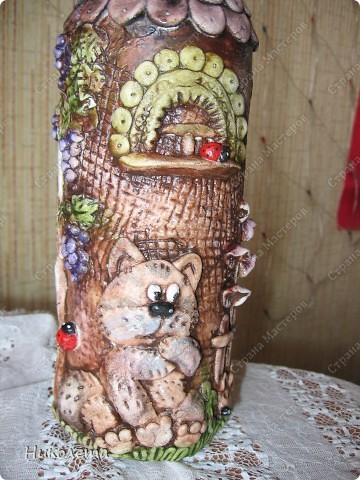 """Декор предметов, Мастер-класс Лепка: Как я делаю """"Домик для гномиков """" Бутылки стеклянные, Тесто соленое День рождения. Фото 26"""