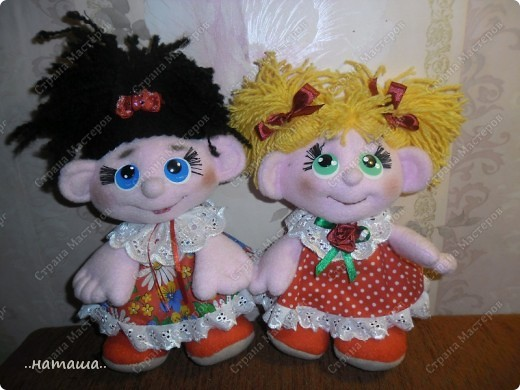 Игрушка, Куклы Шитьё: Куклята Пряжа, Пуговицы, Ткань. Фото 1