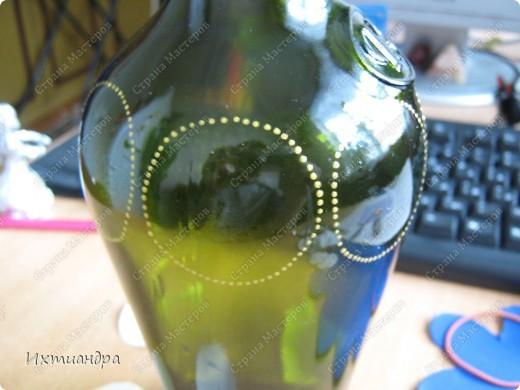Декор предметов Роспись: Зелёная фантазия Бутылки стеклянные, Краска, Стекло. Фото 6