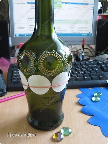 Декор предметов Роспись: Зелёная фантазия Бутылки стеклянные, Краска, Стекло. Фото 8