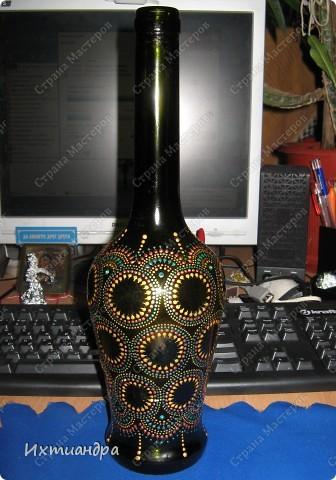 Декор предметов Роспись: Зелёная фантазия Бутылки стеклянные, Краска, Стекло. Фото 10