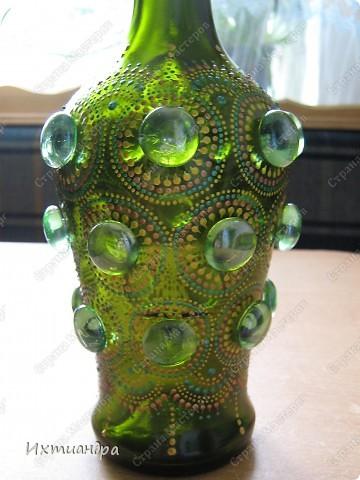 Декор предметов Роспись: Зелёная фантазия Бутылки стеклянные, Краска, Стекло. Фото 13