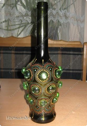 Декор предметов Роспись: Зелёная фантазия Бутылки стеклянные, Краска, Стекло. Фото 12