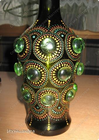 Декор предметов Роспись: Зелёная фантазия Бутылки стеклянные, Краска, Стекло. Фото 2