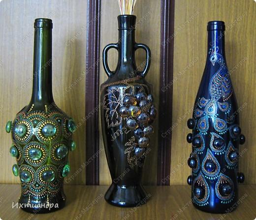 Декор предметов Роспись: Зелёная фантазия Бутылки стеклянные, Краска, Стекло. Фото 15