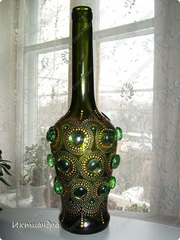 Декор предметов Роспись: Зелёная фантазия Бутылки стеклянные, Краска, Стекло. Фото 1