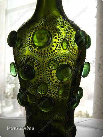Декор предметов Роспись: Зелёная фантазия Бутылки стеклянные, Краска, Стекло. Фото 14