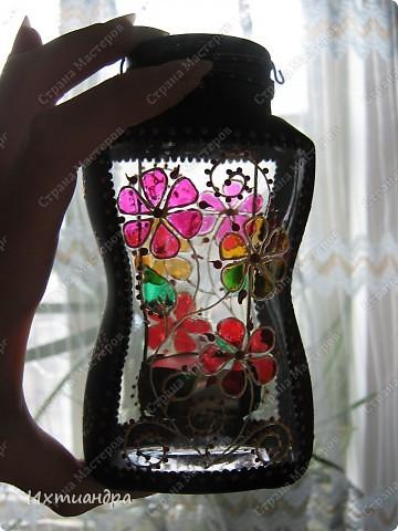 Декор предметов, Мастер-класс Витраж, Роспись: Баночка? Ваза? Фонарь! Краска, Проволока День рождения. Фото 35