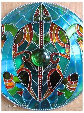 """Декор предметов, Мастер-класс Рисование и живопись: Витражный магнит """"Черепашка"""" Диски компьютерные, Краска, Магниты. Фото 9"""
