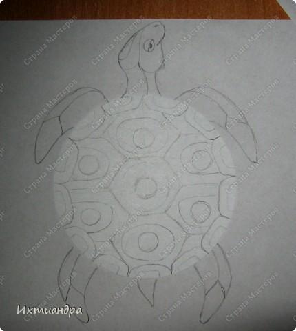 Мастер-класс, Поделка, изделие Витраж, Роспись: Золотая черепаха! Диски компьютерные, Клей, Краска. Фото 3