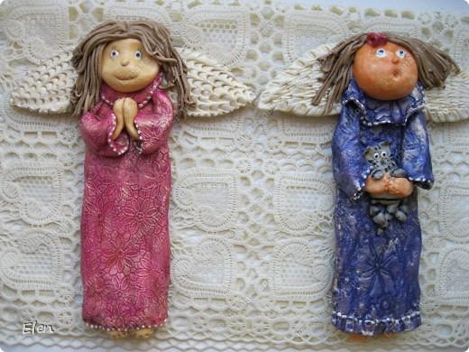Картина, рисунок, панно Лепка: Ангелочки Гипс, Тесто соленое. Фото 1