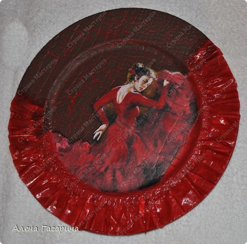 "Мастер-класс Декупаж: Тарелка ""Фламенко"" Бумага. Фото 17"