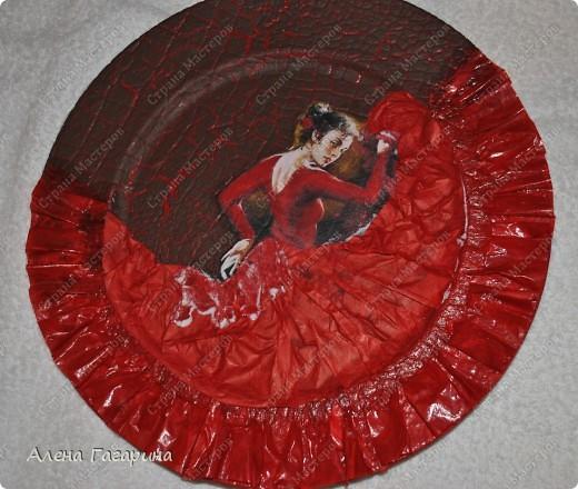 "Мастер-класс Декупаж: Тарелка ""Фламенко"" Бумага. Фото 19"