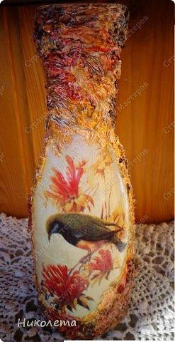 Декор предметов, Мастер-класс Декупаж: МК вазочка (ТЕРРА) Бутылки стеклянные, Краска, Материал природный, Салфетки. Фото 1
