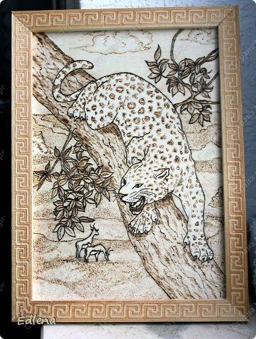 Картина, панно, рисунок Выжигание по дереву: Леопард Дерево  Отдых. Фото 1