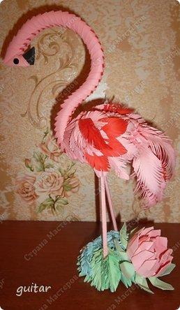 Поделка, изделие Оригами модульное: Розовый фламинго из модулей оригами. Бумага, Клей. Фото 2
